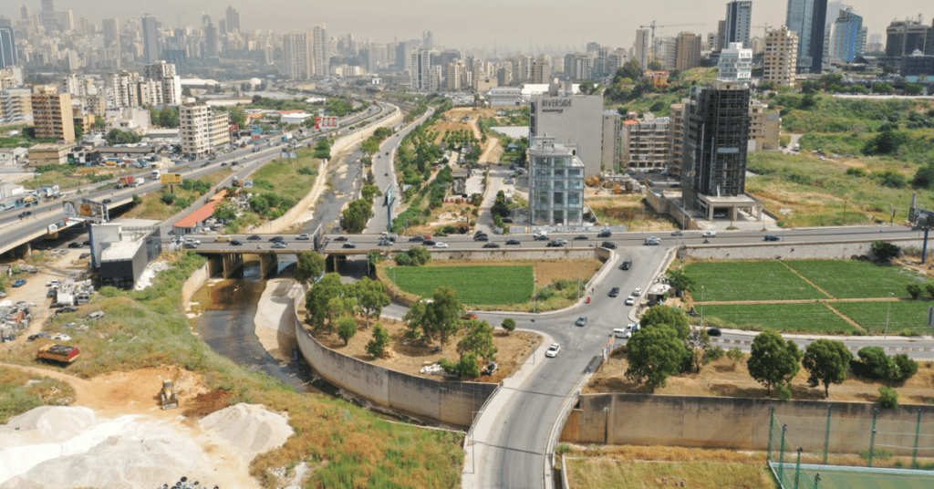 Aerial view of the Beirut River above Sin el-Fil area.
